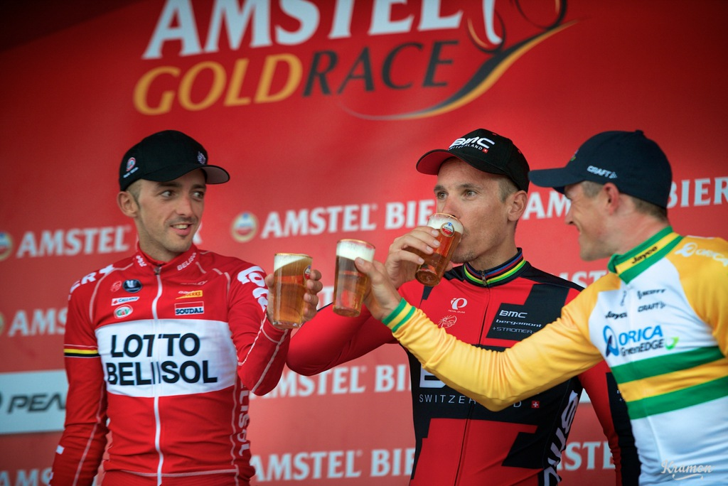 Simon Gerrans was chastised for not drinking the race sponsor's beer on the podium, but one week later he was in the top podium spot at Liege-Bastogne-Liege