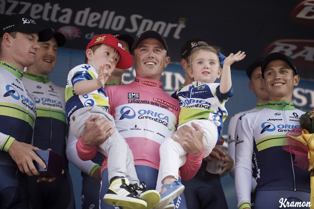 Simon Gerrans is a rider that tends to keep is public and private life quite separate. It was unusual to see him bring his kids with him on to the podium after the stage 1 TTT at this year's Giro d'Italia.