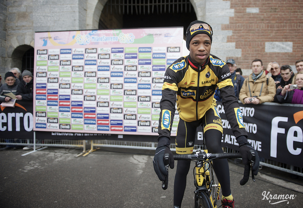 Jim Songezo (RSA) is the first black african ever to ride Malin-Sanremo