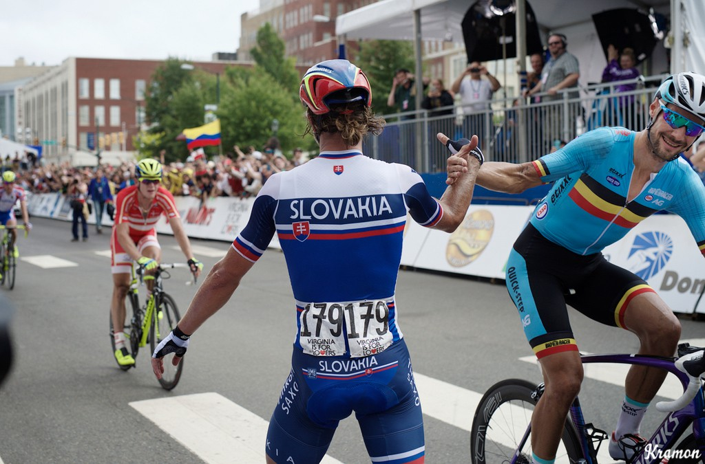 Peter Sagan gets a high-five from Tom Boonen after winning the 2015 world road championship in Richmond, Virginia.