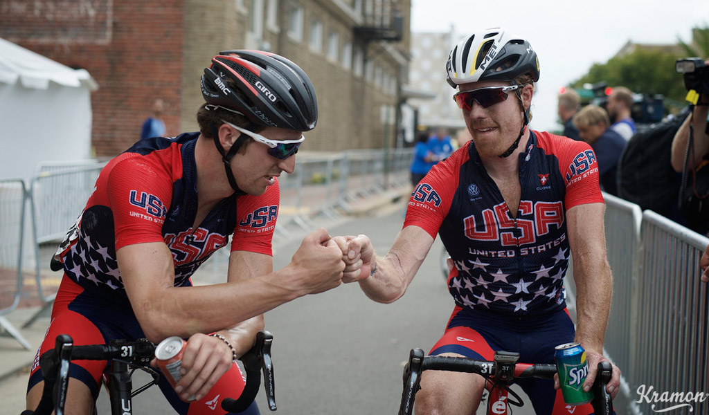 After aggressive displays in the world road race championships in Richmond, Virginia, Taylor Phinney (L) and USA team-mate Tyler Farrar acknowledge strong performances.  Taylor Phinney (USA/BMC) & Tyler Farrar (USA/MTN-Qhubeka)  Elite Men Road Race UCI Road World Championships Richmond 2015 / USA