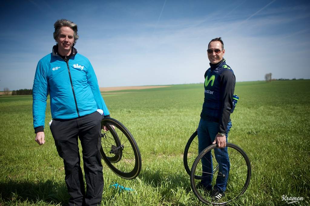 Cycling legend Erik Zabel was out on course offering support to Movistar riders.