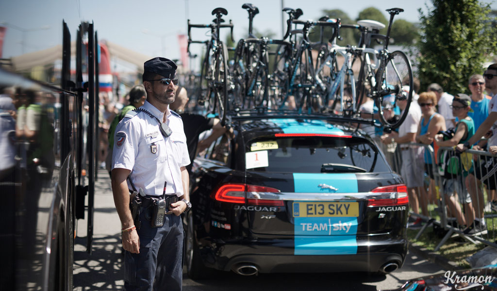 Across the border in France, a police presence was visible at the 2015 Tour