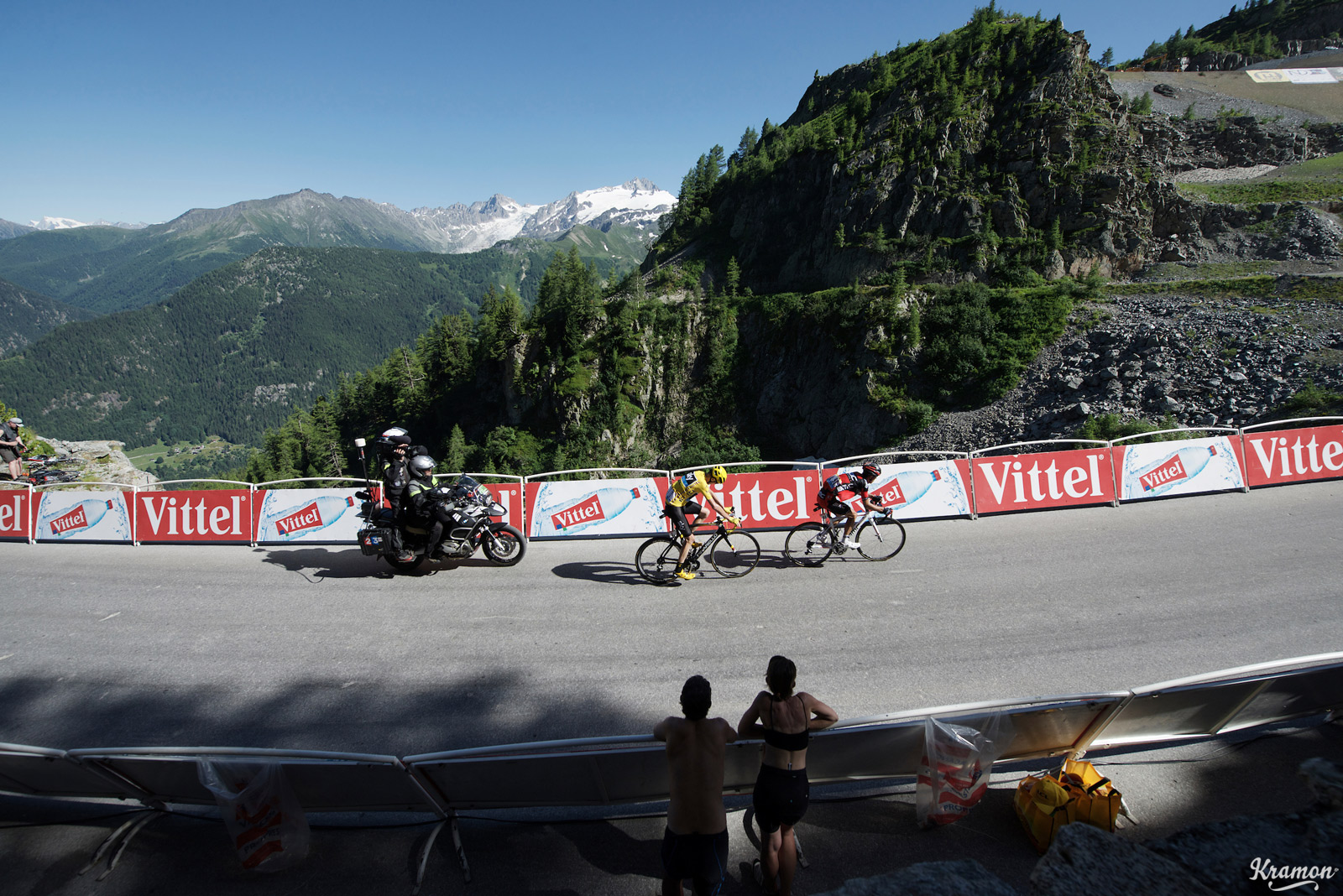 Richie Porte (BMC Racing Team) leads former teammate Chris Froome (Sky) on stage 17 of the 2016 Tour de France