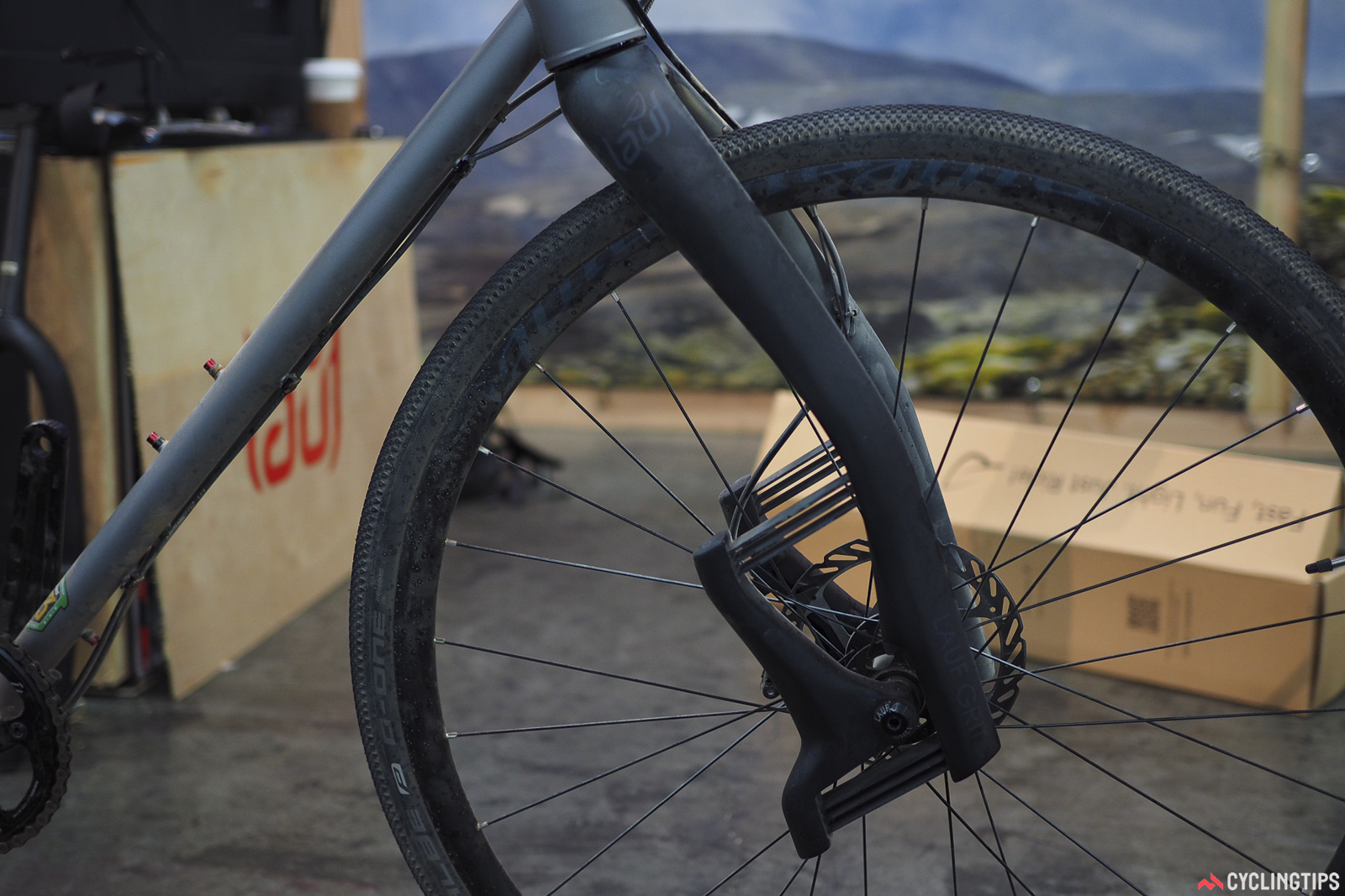 Icelandic company Lauf created quite a buzz when it introduced its wild all-carbon suspension fork three years ago. The Grit model is aimed at the gravel market, using the same clever four-bar, zero-stiction carbon leaf spring design. Total travel is just 30mm, but at a relatively minor weight penalty (claimed weight is 900g) and with plenty of potential benefit in the right application.