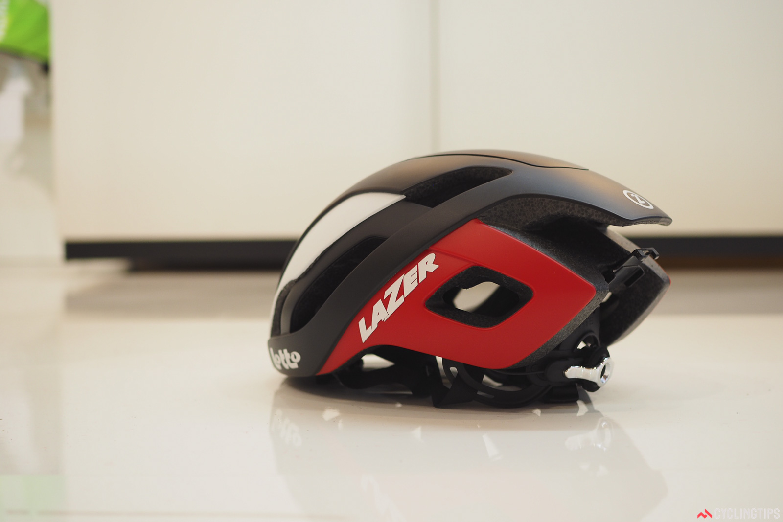 The Lazer Bullet aero road helmet features a super low profile, modest venting, and a tapered tail. Photo: James Huang.
