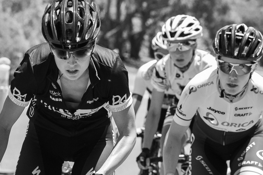 Williams (left) in the black colours of Bike Gallery. (Image: Kirsty Baxter)