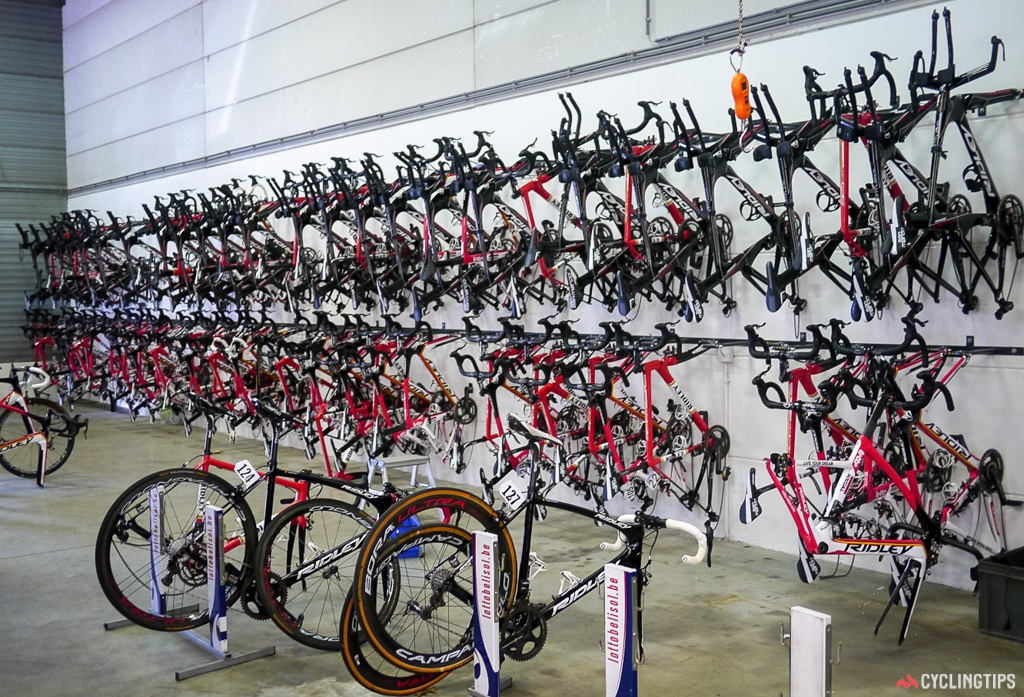 Take your pick. Team bikes are hung up and ready to be packed into the trucks for races. Many bikes were already on the road and at races currently underway.