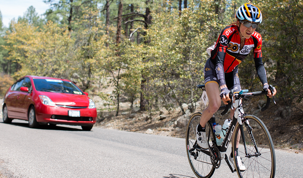 Mara Abbott during the final kilometer, securing a sixth Gila overall win in Pinos Altos on Stage 5.