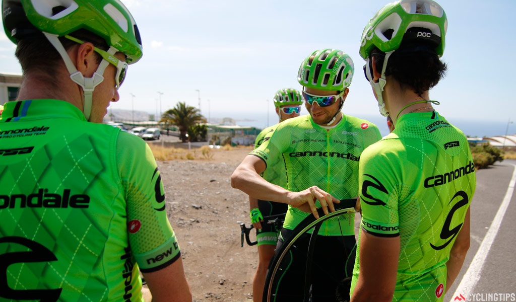 The riders were delayed by a puncture, but soon got going once again.