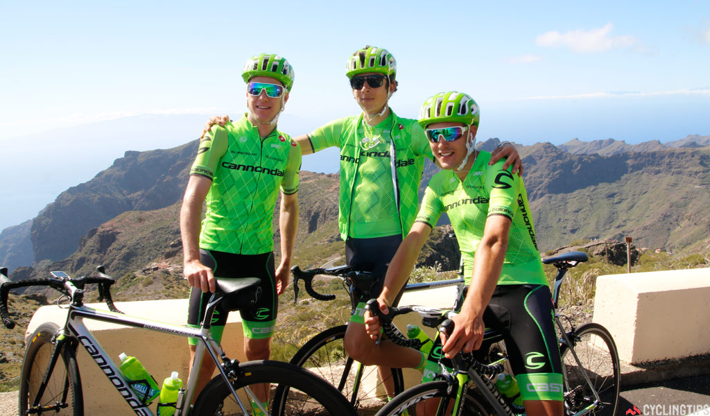 Simon Clarke with new team-mates Davide Formolo and Alberto Bettiol at the Cannondale Pro Cycling team camp in Tenerife, February 2016.