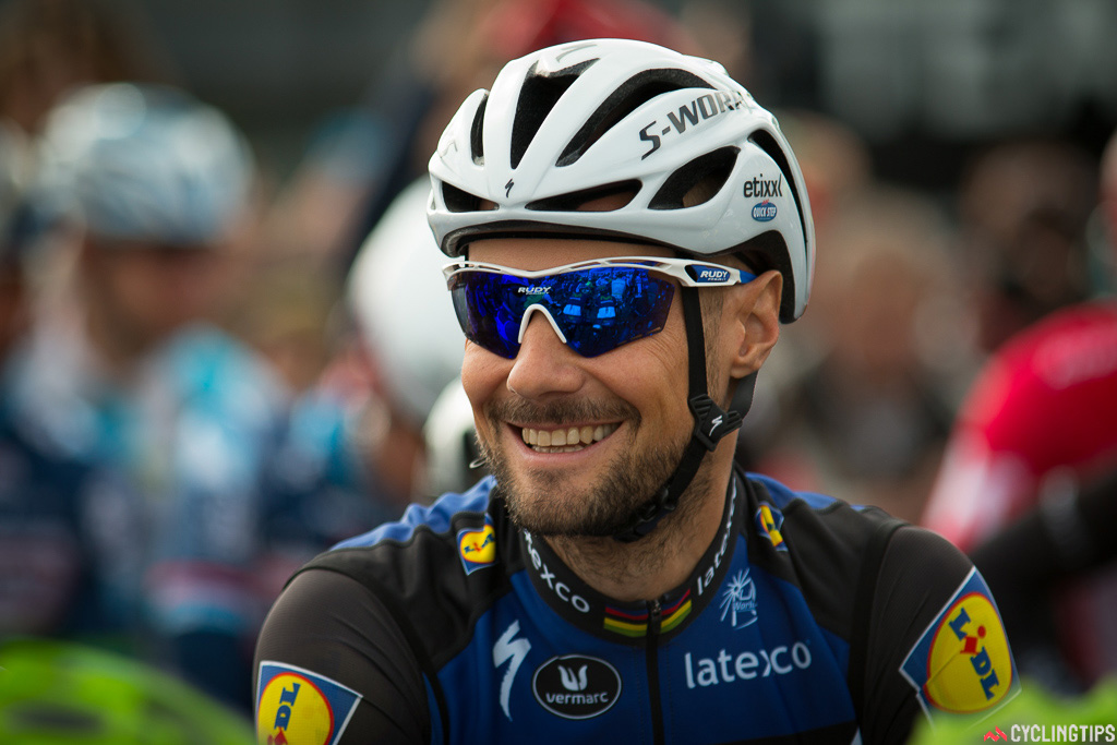 Tom Boonen was noticeably relaxed at the start of the 2016 Paris-Roubaix.