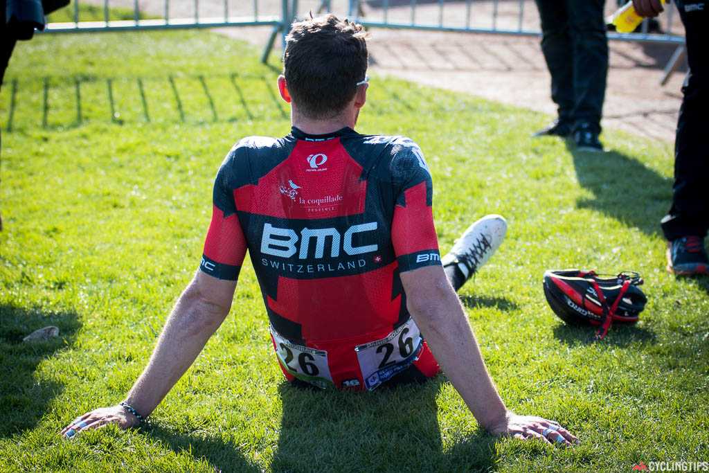 Phinney slumps in the Roubaix velodrome, drained after over six hours in the saddle