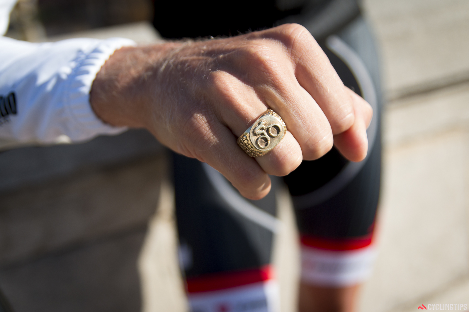 """Ryder Hesjedal has a distinctive ring on his right hand. It has special significance for him. """"My father had it made after Beijing, my first road Olympics."""""""