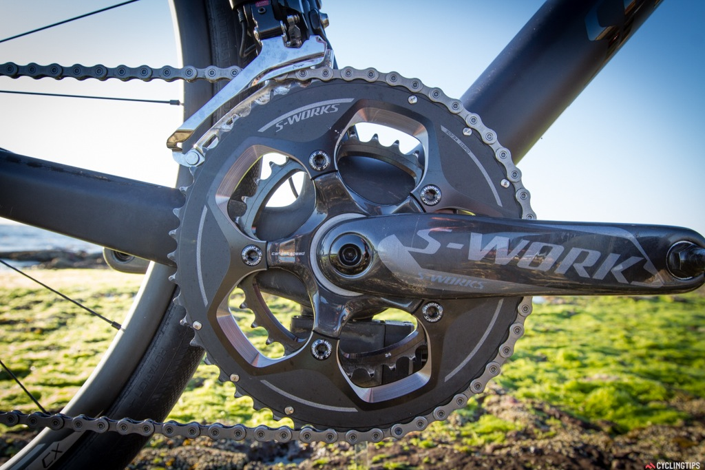 The S-Works 50/34 chainset and crankset was what our test model came equipped with, but it normally comes with a Praxis chainring/crankset