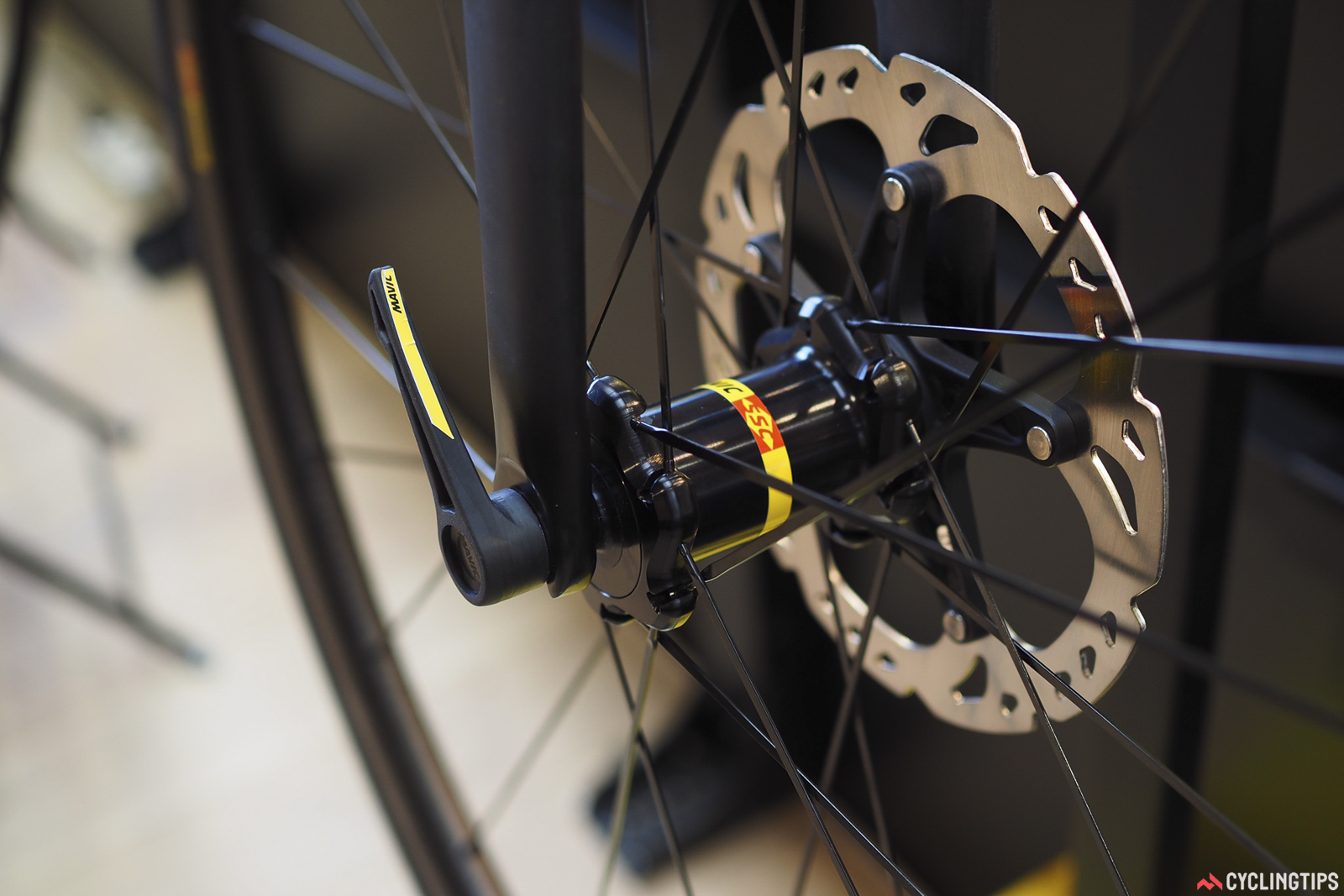 Mavic has licensed the Speed Release quick-release thru-axle design, which will be included as standard equipment on some Corratec bikes for model year 2018. It's quite a slick system, quick to use, and seemingly safer than traditional quick-releases. Photo: James Huang.