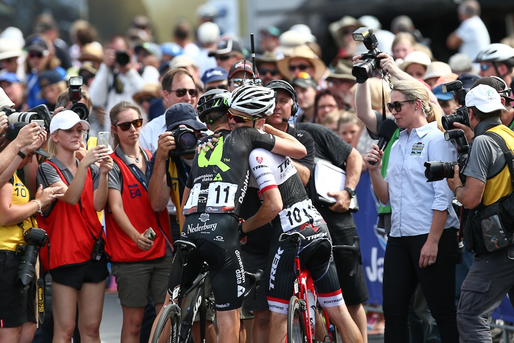 Meyer and Bobridge are former teammates (at Garmin-Cervelo in 2011 and Orica-GreenEdge in 2012) and Meyer was genuinely pleased to see Bobridge win.