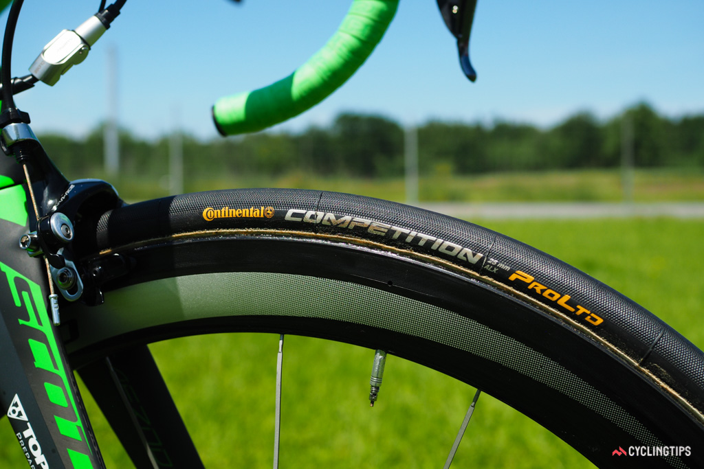 50mm-deep Shimano carbon tubular wheels are wrapped with 25mm-wide Continental Competition ProLtd ALX tires.