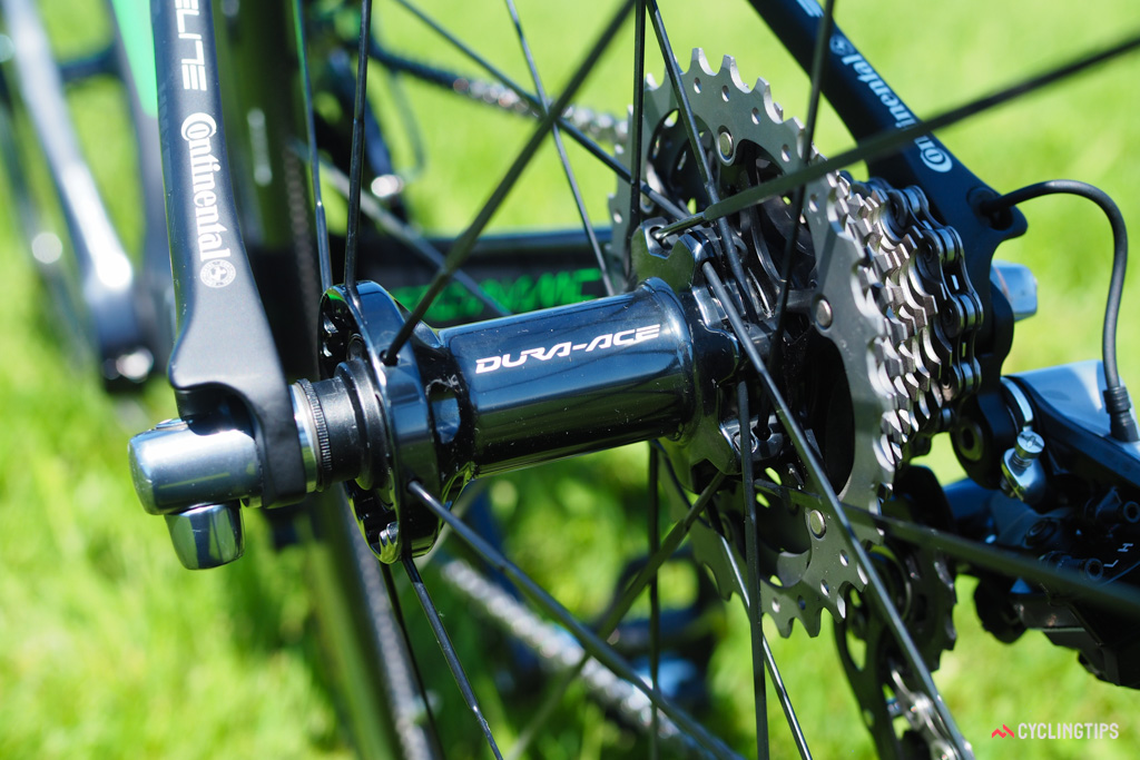 Shimano Dura-Ace hubs aren't the lightest but their cup-and-cone bearings allow for perfect adjustment.