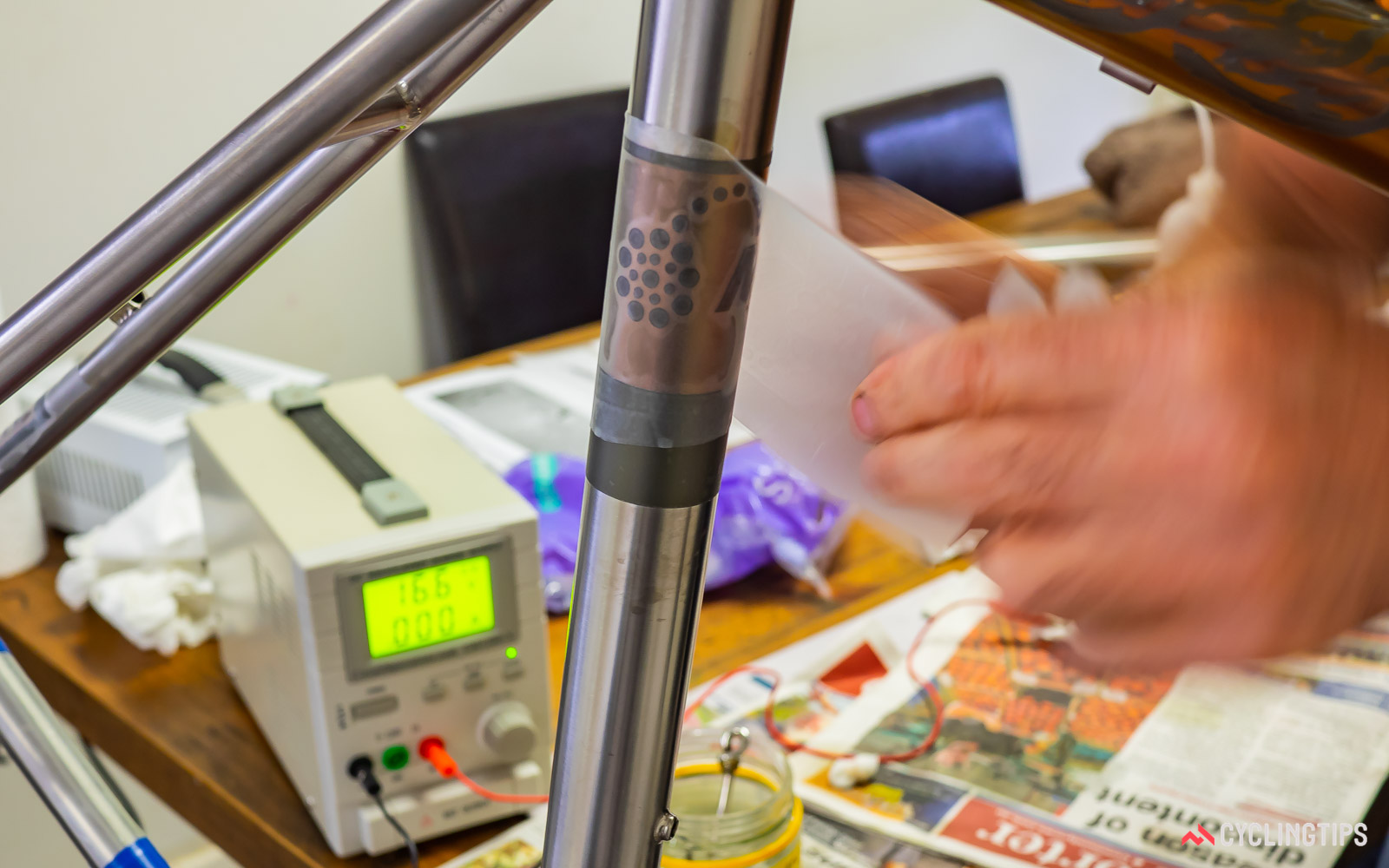 Applying a mask to an anodised seat tube