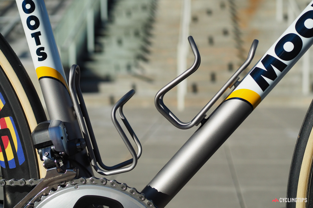 Even the King Cage titanium bottle cages are refinished in-house to match the frame.