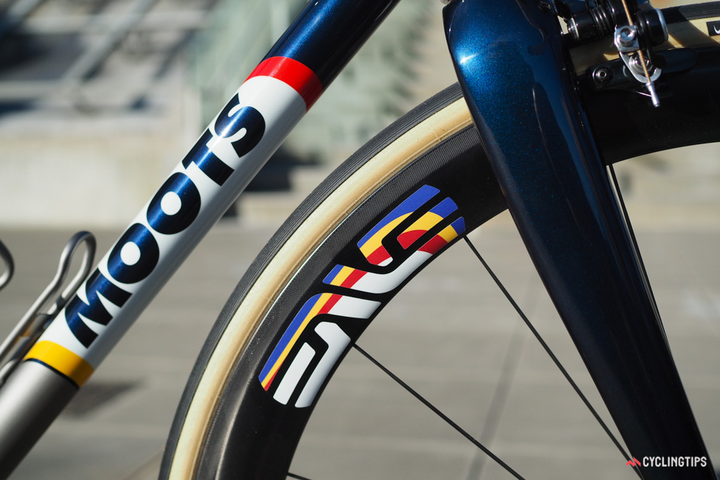 Decals to match on the Enve carbon clincher rims.