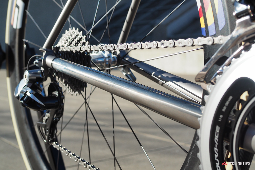 The chainstays are unusually big for a titanium frame and the driveside one is polished.