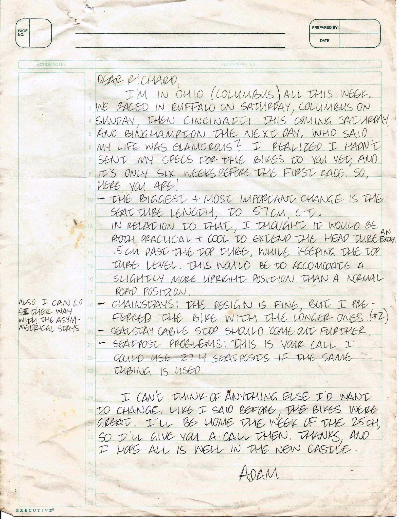 A letter Adam Myerson sent to Richard Sachs in 1997, their second season working together. The letter lays out some of the changes to the prior year's design.