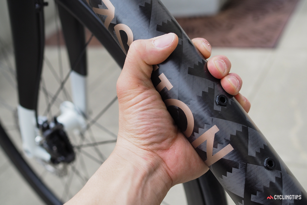 The down tube of Bastion Cycles' new road bike is huge.