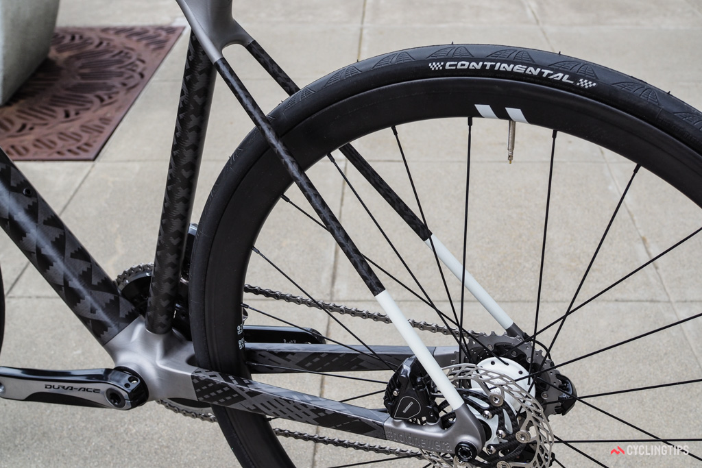 Big, rectangular-profile chainstays are matched to pencil-thin seatstays.