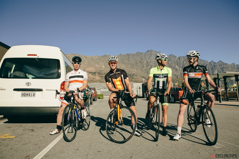 Obligatory group shot before we rolled away from Queenstown Airport.
