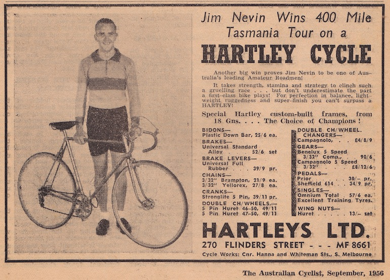 Jim Nevin in a Hartley Cycle advert (The Australian Cyclist, Sep 1956).