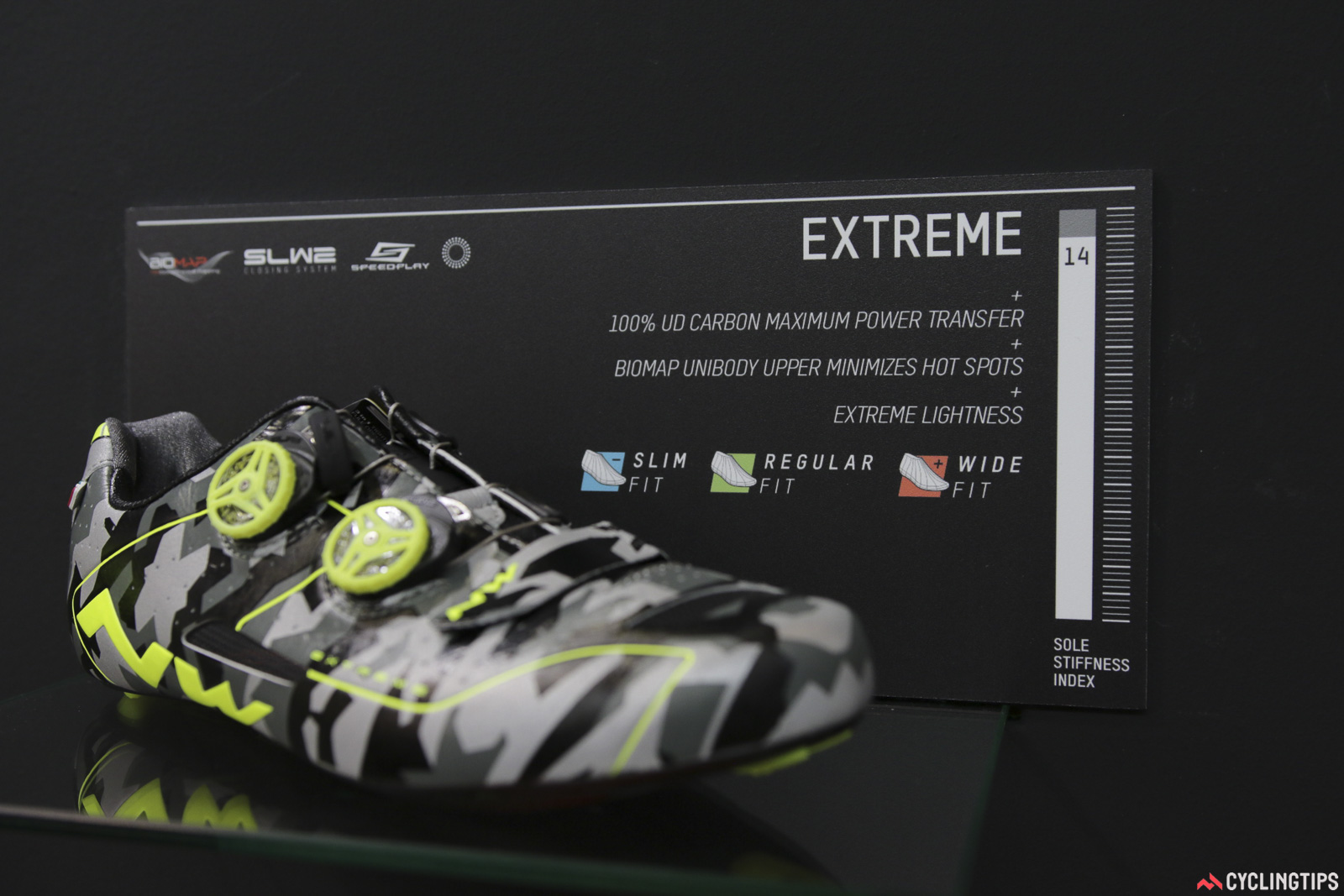 Reader exFictitiouZ asked that we visit NorthWave. The Extreme is indeed available in three widths, the Evolution Plus is in two widths, as is the Sonic 2 Plus. The rest of the road range is available in just one width. And part of that reason is explained with the new 'Extreme RR' shoe, see below. Photo: David Rome.