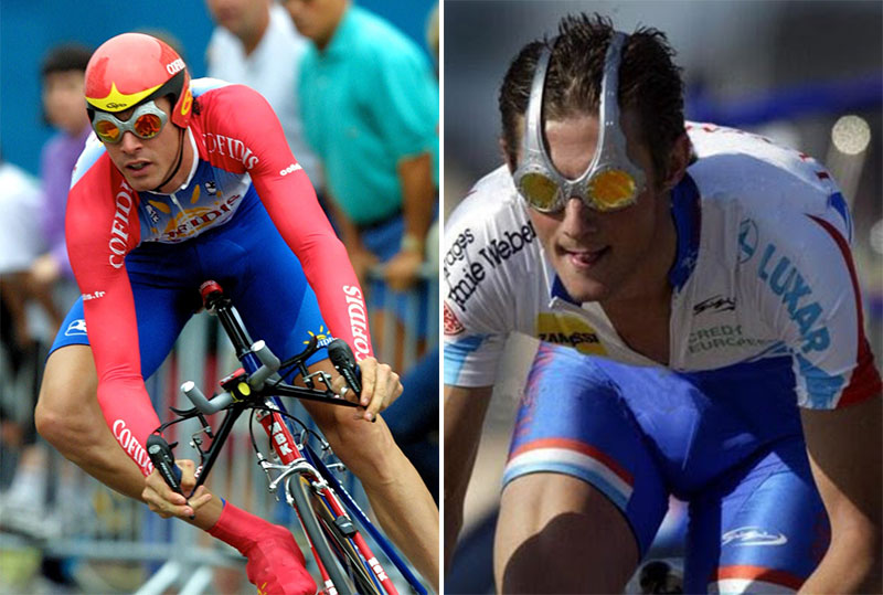 David Millar (left) and Frank Schleck (right) sport the aptly named Over the Top glasses.