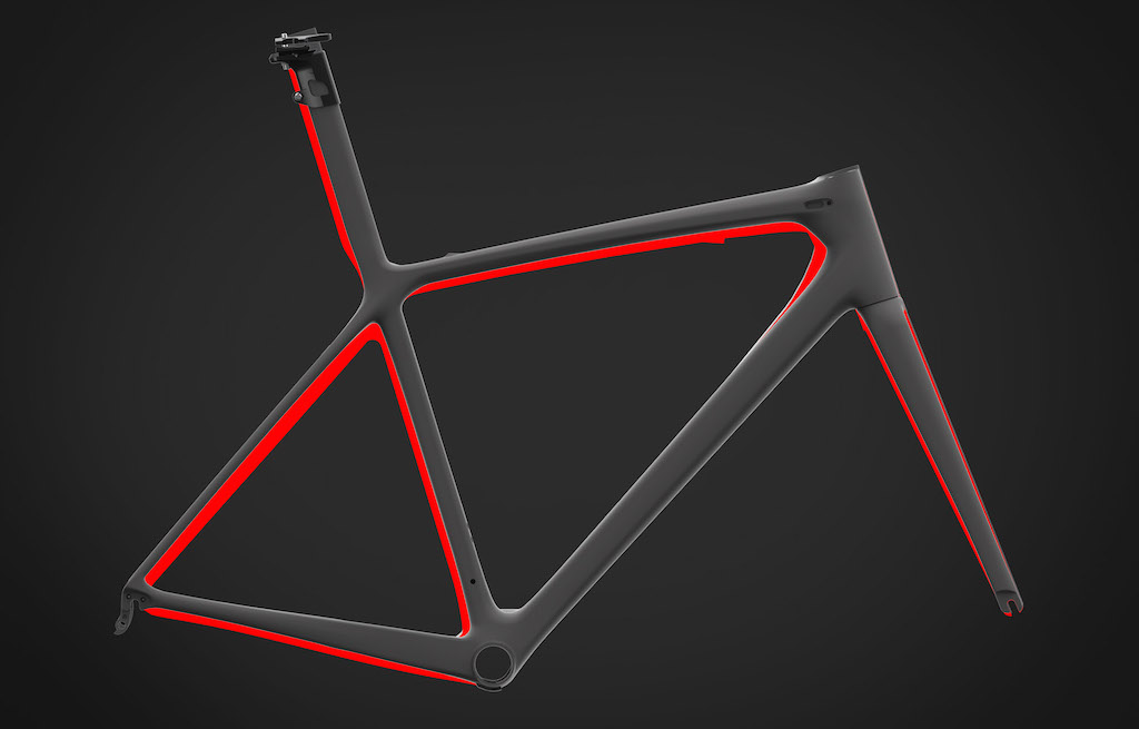 Illustration showing the changes between the previous iteration of the TCR, and the new 2016 TCR frame and fork. The red shows the areas where Giant were able to strip away material, stiffen up the ride qualities, and reduce weight by way of learning's from tube shape improvements, advancement in manufacturing techniques, or design changes.