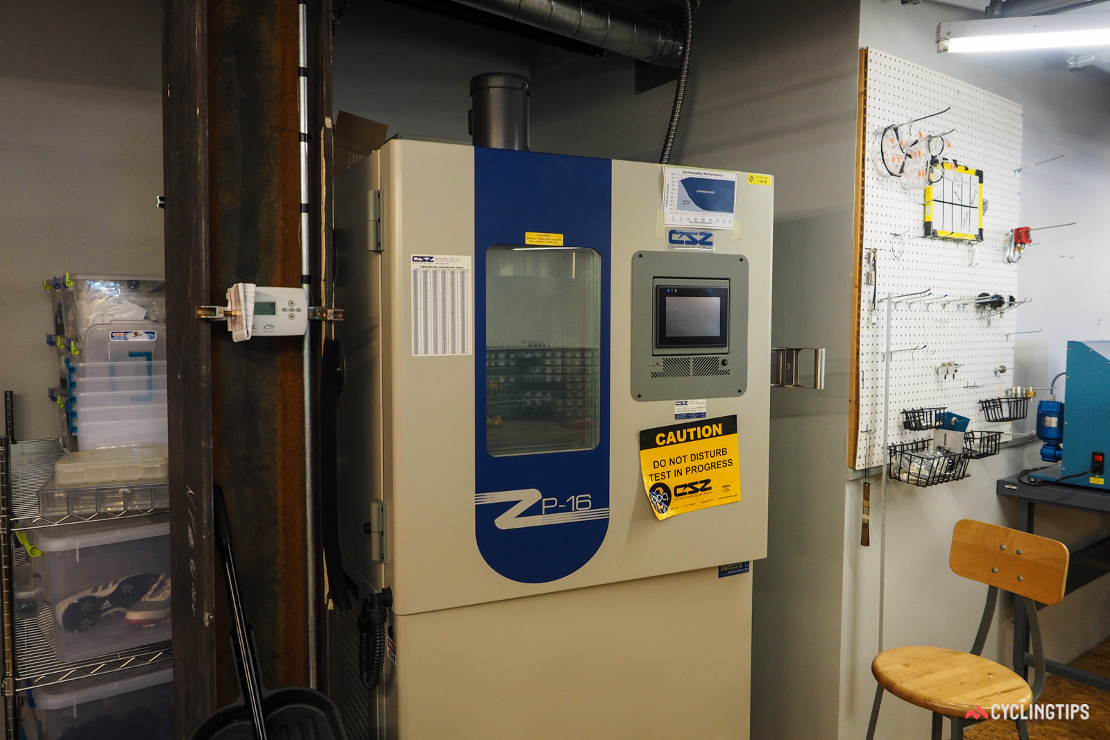 An on-site environmental chamber allows testing at different temperatures and humidities.
