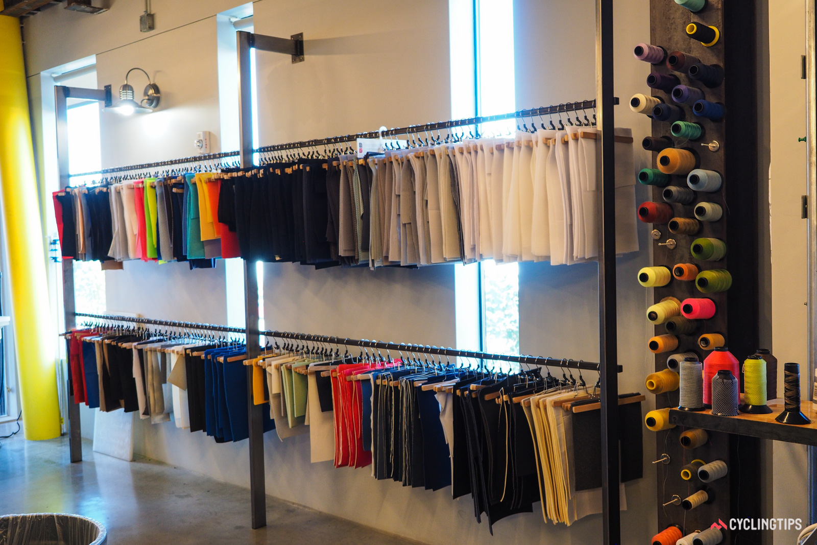 A huge collection of different upper fabrics and materials are kept on hand as well.