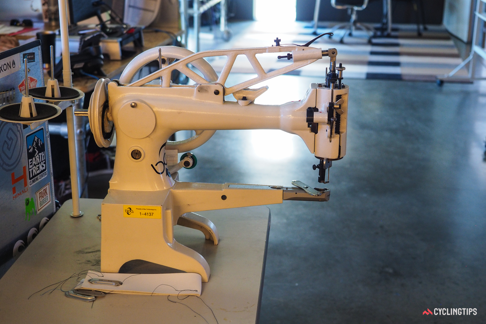 Sewing machines like are commonly found inside the Boa facility. The design allows easy retrofitting of Boa components on to shoes that are already built.