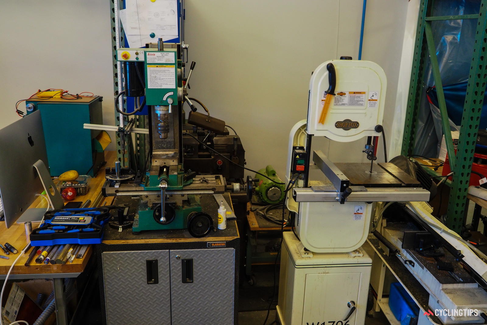 A band saw and drill press are often put into use as well.