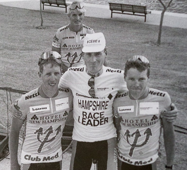 Matt Bazzano (right) with stage-one winner of the 1991 Bank Race Pat Jonker (centre) and Brett Dutton (left). Team manager Dr Robert Hampshire is in the background.