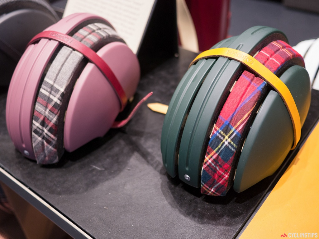 These Brooks foldable helmets were made in conjunction with Carrera. The tartan detailing and old Brooks toe straps scream Britain.