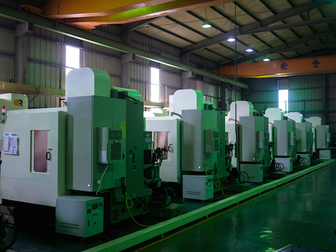 Rows of CNC machines