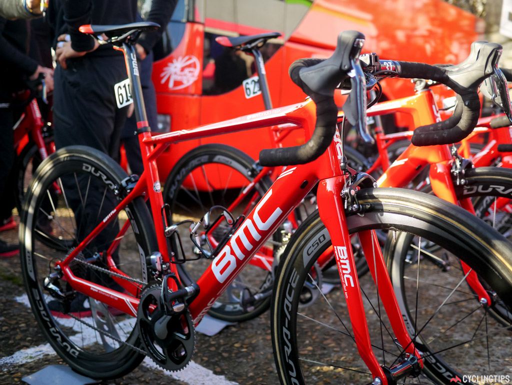 BMC had no real change to its GF bike, just a new red paint scheme and the word Roubaix added to it.
