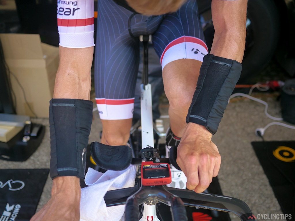 According to Trek staff the wrists are a vital area for cooling the body. This is also a reason why you may see riders pouring iced water on their wrists mid-race.
