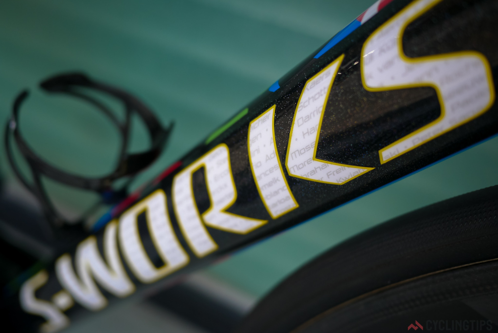 Every past World Championship winners name is incorporated in the S-Works logo on the down tube.