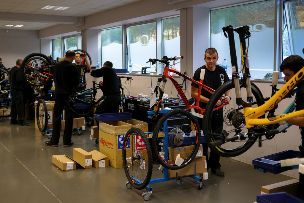 Several areas of the factory are where mechanics work on single bikes, it's far removed from a production line as possible.