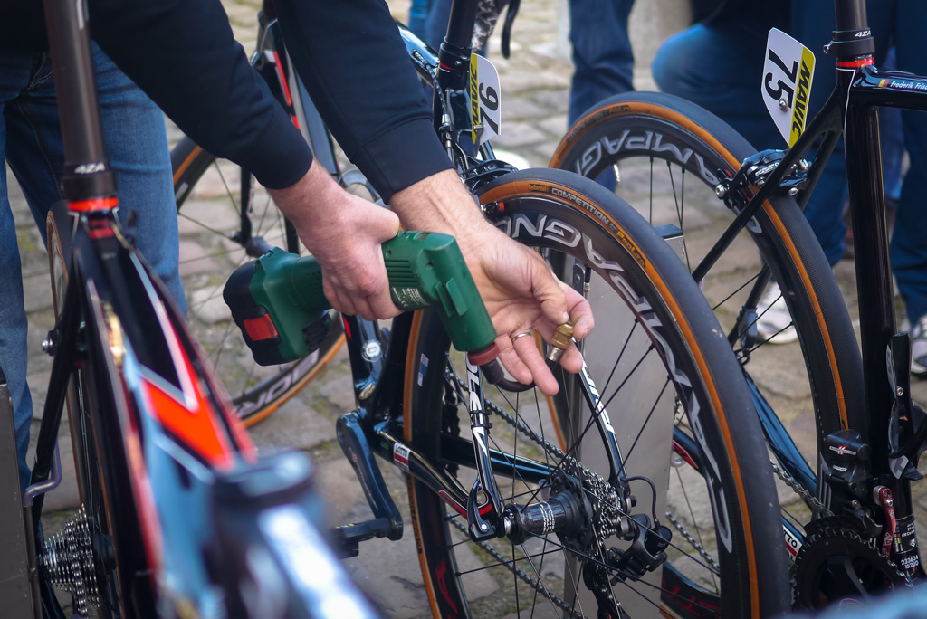 Paris-Roubaix is one race where you won't see mechanics fobbing off riders who ask what pressure they've put in a tyre. The pre-race pits are abuzz with the sound of mini hand generators pumping tyres to precise pressures for each rider.