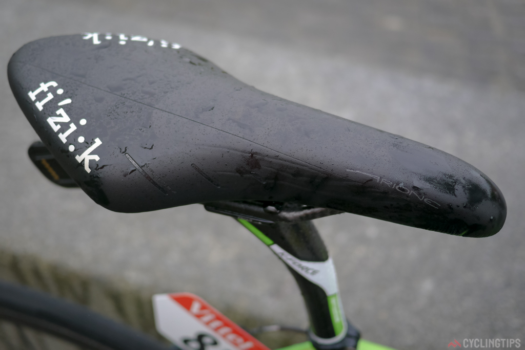 Not the latest Fizik Arione, but if a rider likes a saddle they tend to stick with it. When you're doing up to 8 hours on the bike a day you need comfort and that may not mean the latest technology.