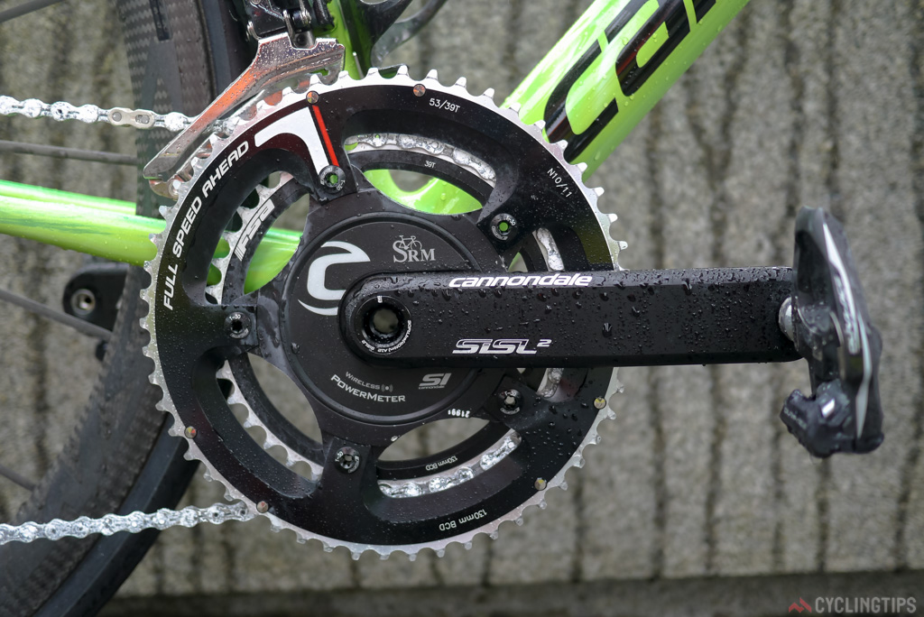 Cannondale's SISL2 chain sets are some of the stiffest on the market. Match this with an SRM power meter sensor and it's a pretty great set up. Chainrings are from FSA. Rolland's set up the day we took the photo was a standard 39/53.