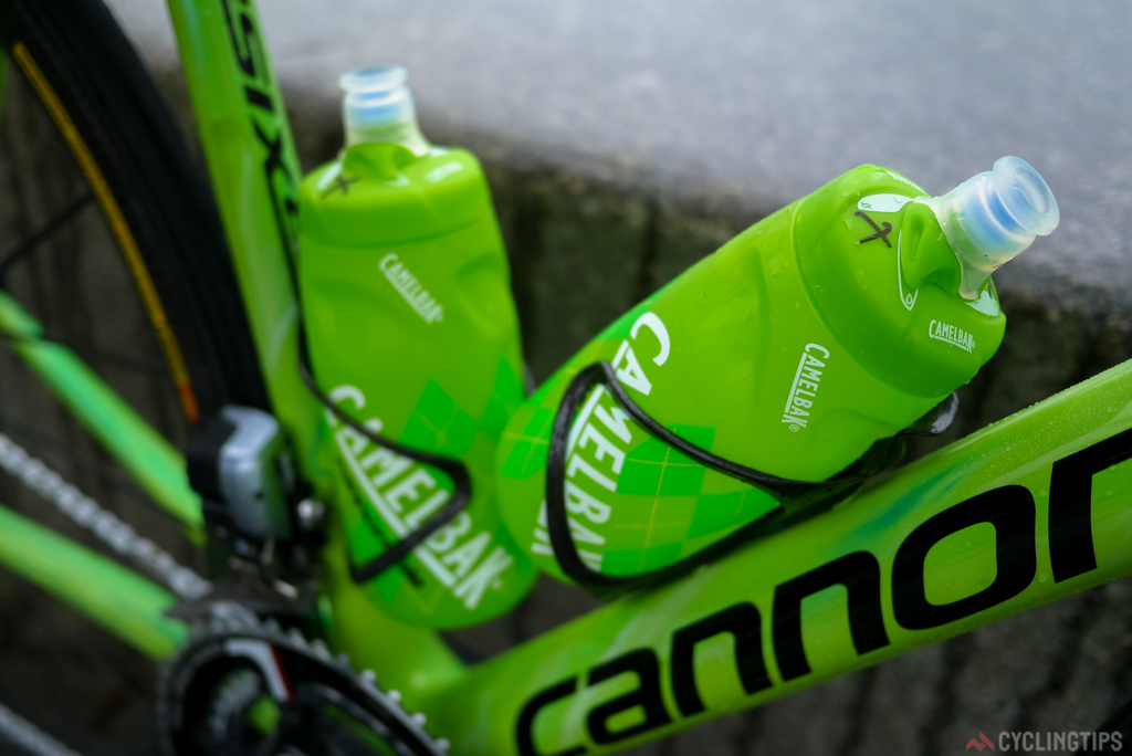 Camelback bottles held firmly in place by the Arundel cages.